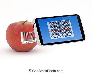 smartphone, concept, scanner, barcode