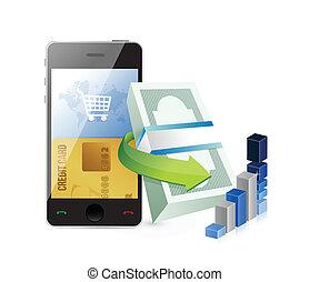 smartphone, concepto, ir de compras en línea directa