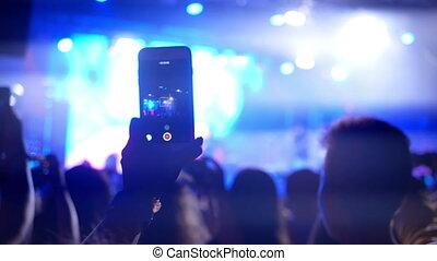 smartphone, concert musique, gens