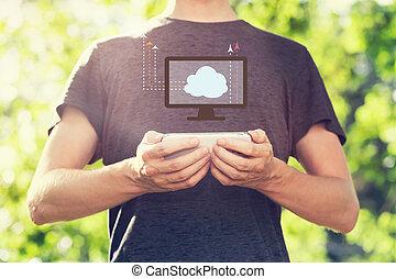 smartphone, concetto, calcolare, giovane, suo, presa a terra, nuvola, uomo