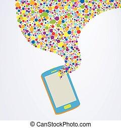 smartphone, concetto, colorito