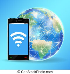 smartphone connect wifi with planet earth globe