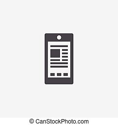 smartphone content icon, on white background.