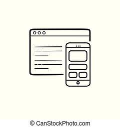 smartphone, contorno, webpage, scarabocchiare, codificazione, mano, disegnato, icon.
