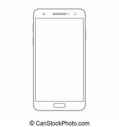 smartphone, contour, téléphone, vecteur, template., icône