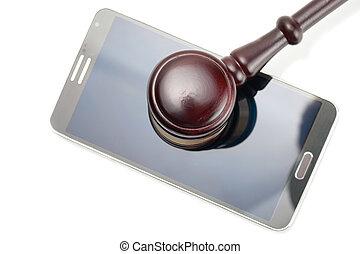 smartphone, coup, -, juge, studio, sous, marteau, blanc