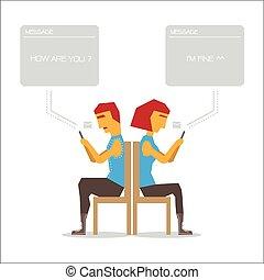 smartphone, cualesquiera, pareja, retener, hablar, sin, cada...