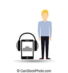 smartphone, cuffie, musica, biondo, linea, tipo