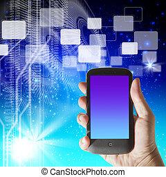 smartphone, cześć-tech, ręka, tło, futurystyczny, widać
