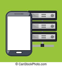 smartphone, dane, baza, ikona