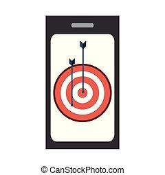 smartphone, dartboard, alvo