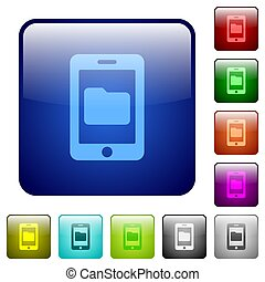 Smartphone data storage color square buttons