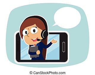 smartphone, dentro, callout, indianas, femininas, operador