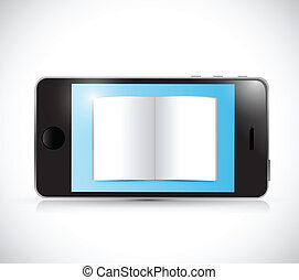 smartphone, desenho, livro, ilustração
