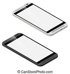 Smartphone detailed isometric icon set