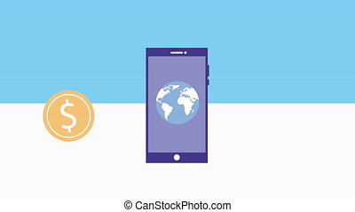smartphone device with bitcoin animation - smartphone device...