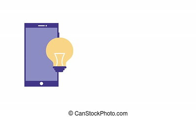 smartphone device with bulb light animation - smartphone...