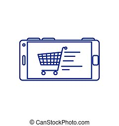 smartphone device with cart shopping in screen