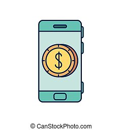 smartphone device with coin dollar in screen