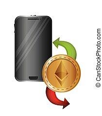 smartphone device with ethereum vector illustration design
