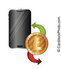 smartphone device with litecoin vector illustration design