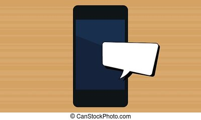 smartphone device with speech bubble  illustration design