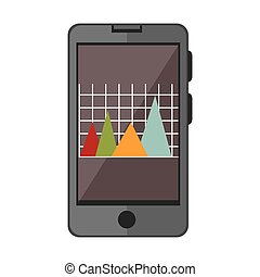 smartphone device with statistics graphic