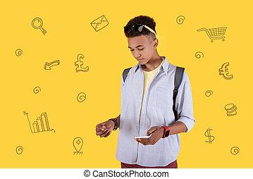 smartphone, diák, modern, látszó, hitel, csendes, birtok, kártya