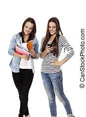 smartphone, diákok, két, egy, elfoglalt, háttér, notepads, fehér