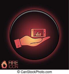 smartphone, diagram., 手を持つ