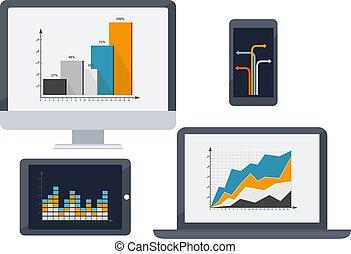 smartphone, diagrams., tablette, écran, illustration, ordinateur portable, vecteur