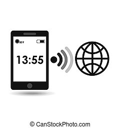 smartphone display globe connection media design