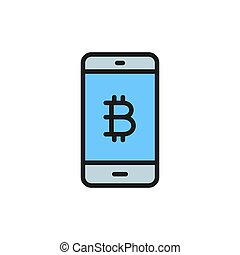 Smartphone display with bitcoin sign, blockchain flat color icon.