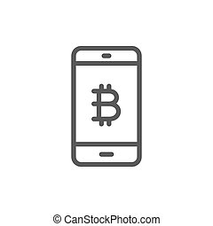Smartphone display with bitcoin sign, blockchain line icon.