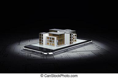 smartphone, disposition, mensonges, plans, isolé, illustration, arrière-plan., architecte, maison, noir, bâtiment., 3d