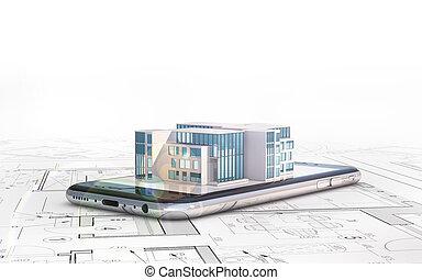 smartphone, disposition, plans, house., illustration, mensonges, architecte, bâtiment., 3d