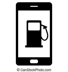 smartphone, distributore di benzina