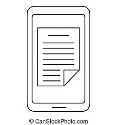 Smartphone document icon, outline style