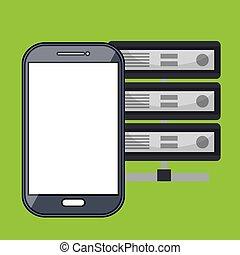 smartphone, données, base, icône