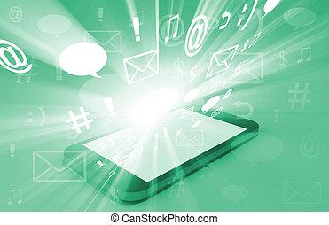 smartphone, doorbraak, met, inhoud