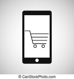 smartphone e-commerce shopping cart graphic