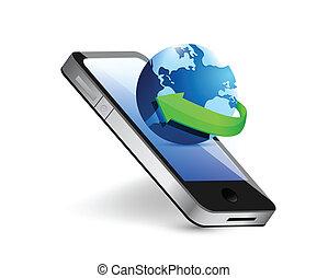 smartphone, e, internacional, globo, ilustração