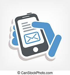 smartphone, e-mail, icono