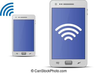 smartphone, e, tecnologia rádio