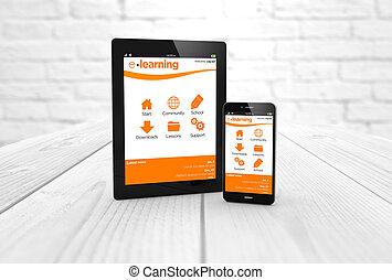 smartphone, educação, tabuleta, online