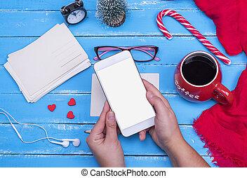 smartphone, ekran, czysty, samicze ręki, biały, utrzymywać