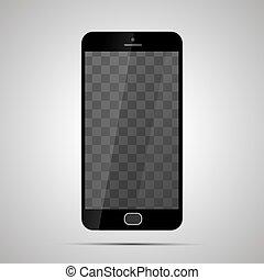 smartphone, ellenző, feláll, gyakorlatias, állás, sima, áttetsző, gúnyol