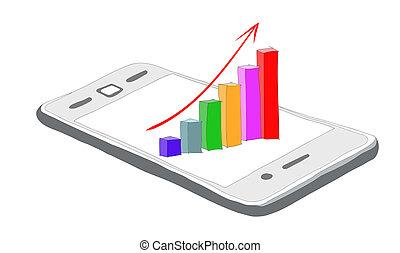 smartphone, empresa / negocio, gráfico, gráfico, plano de ...