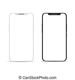 Smartphone empty touch screen. Black and white touchscreen...