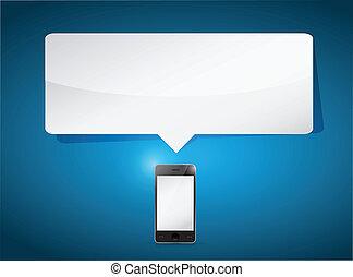 smartphone, en, de ruimte van het exemplaar, boodschap, bel